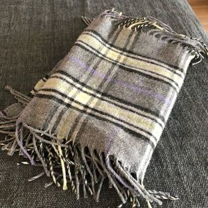 checkered wool scarf NWOT